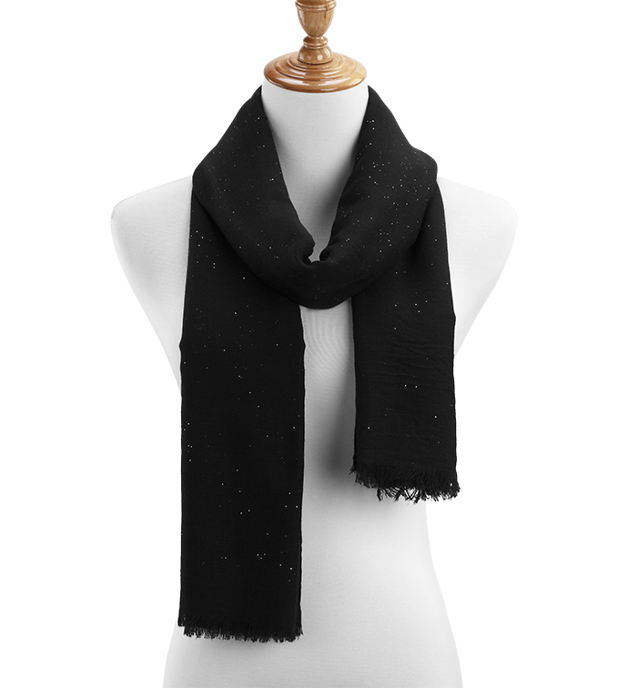 Black Sheer Gauzy Sparkle Scarf