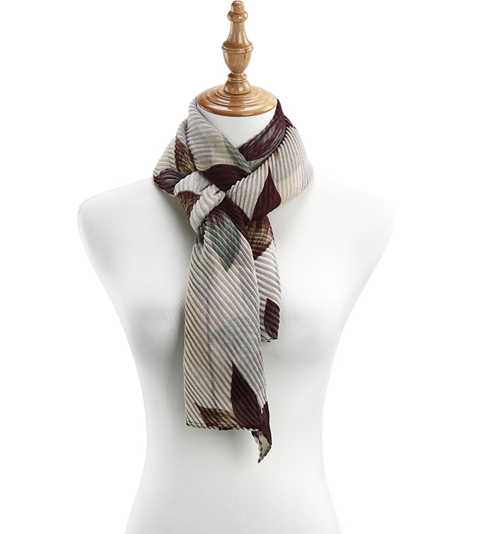 Burgundy Starflower Pleat Scarf