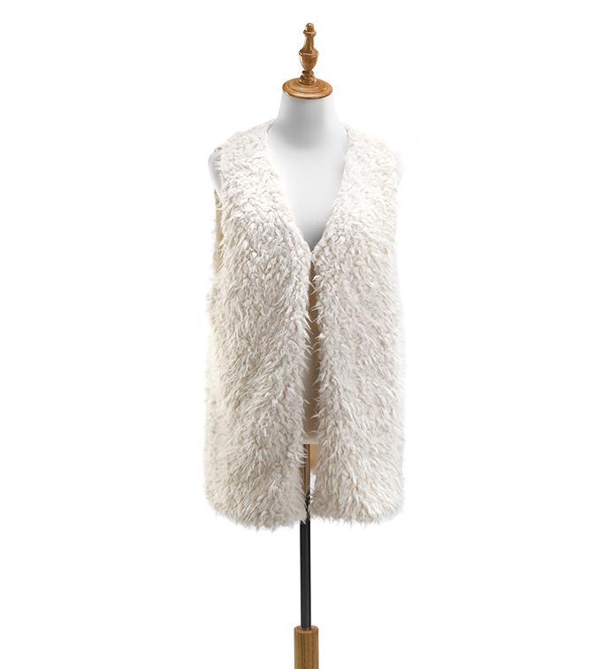 Cream Faux Mongolian Lamb Vest