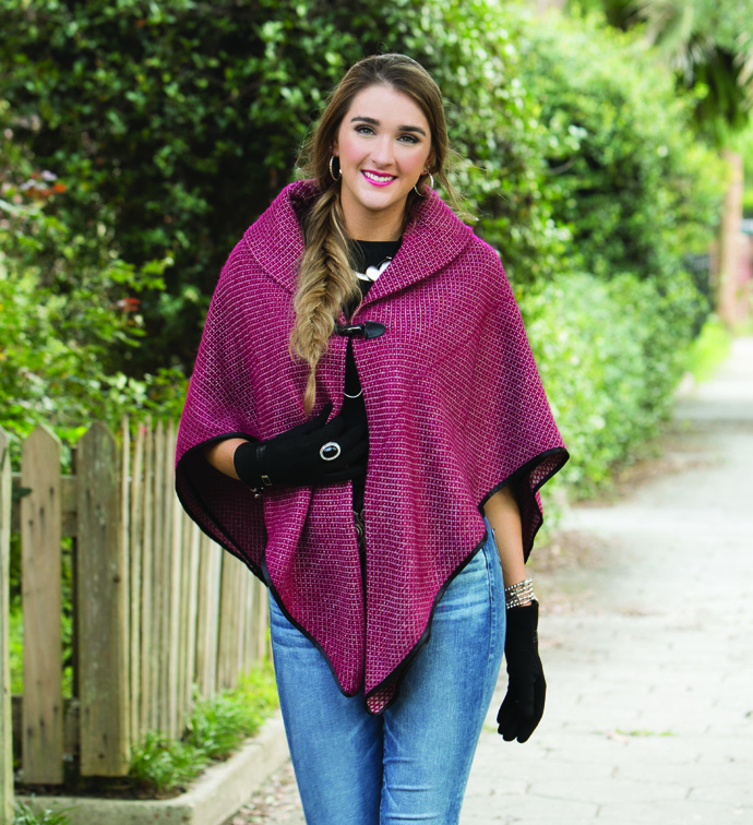 Burgundy Poncho with Toggle