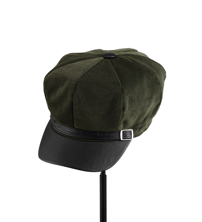 Olive Corduroy Driving Cap