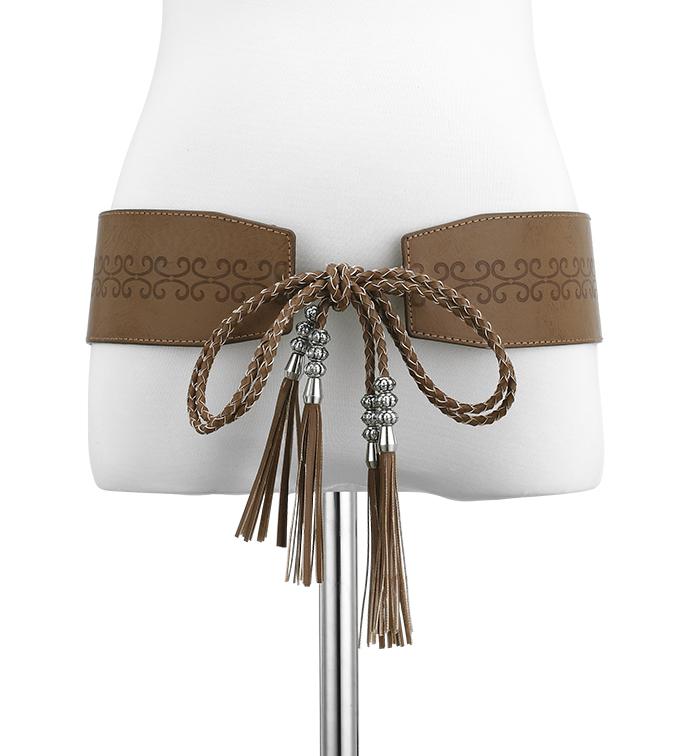 Braided Tassel Belt Brown
