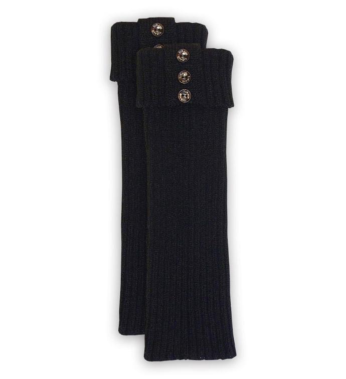 Black Ribbed Tall Boot Cuff