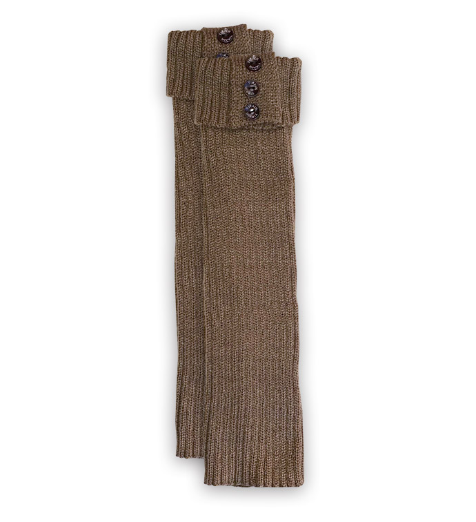 Brown Ribbed Tall Boot Cuff