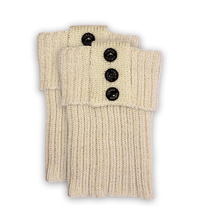 Cream Ribbed Short Boot Cuff
