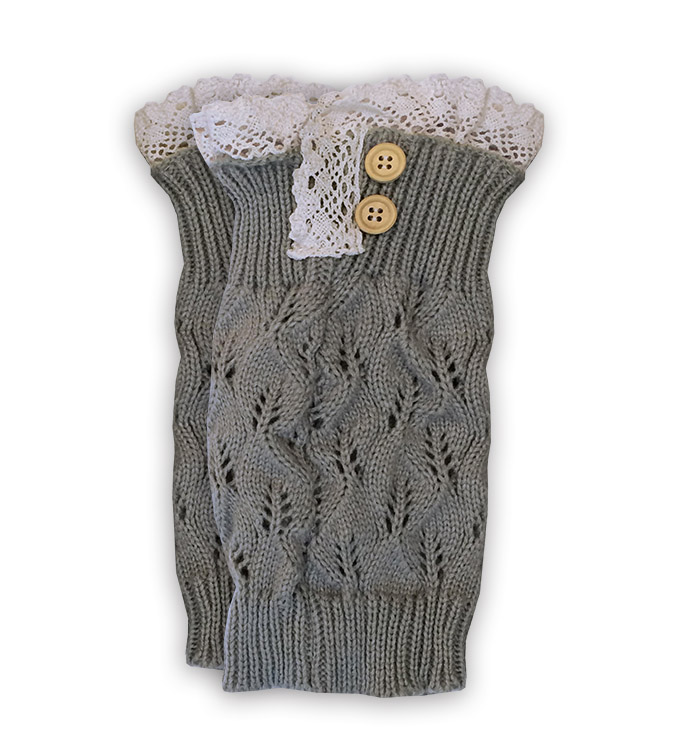 Grey Lace Topped Boot Cuff