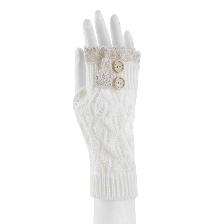 Cream Lace Topped Fingerless Glove