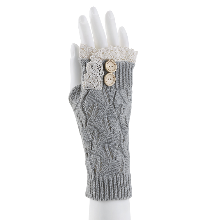 Grey Lace Topped Fingerless Glove