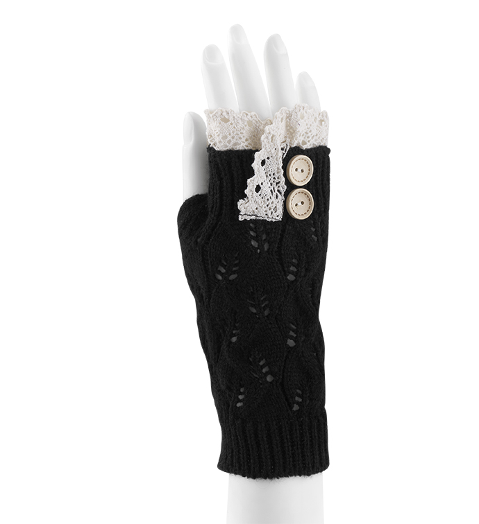Black Lace Topped Fingerless Glove