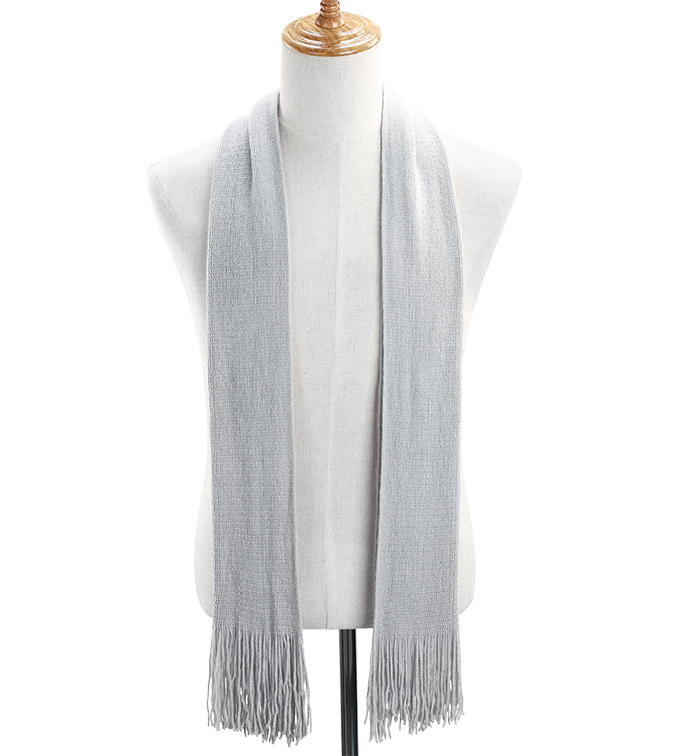 Solid Color Knit Scarf Grey