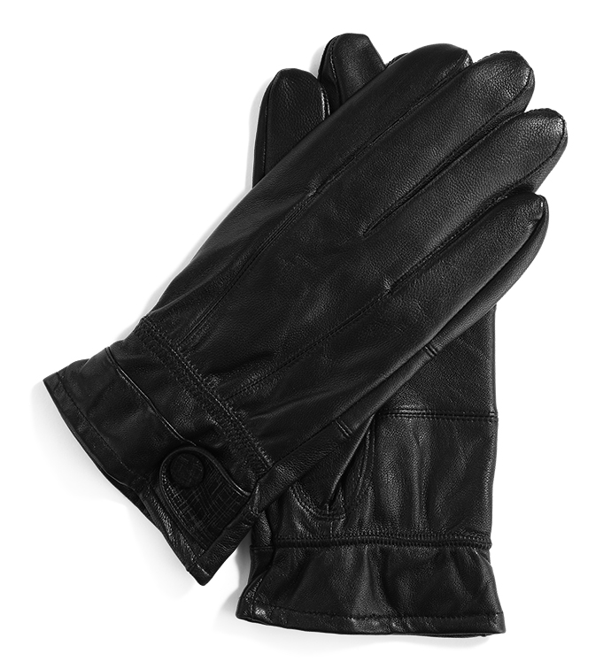 Black Glove with Brown Button Tab