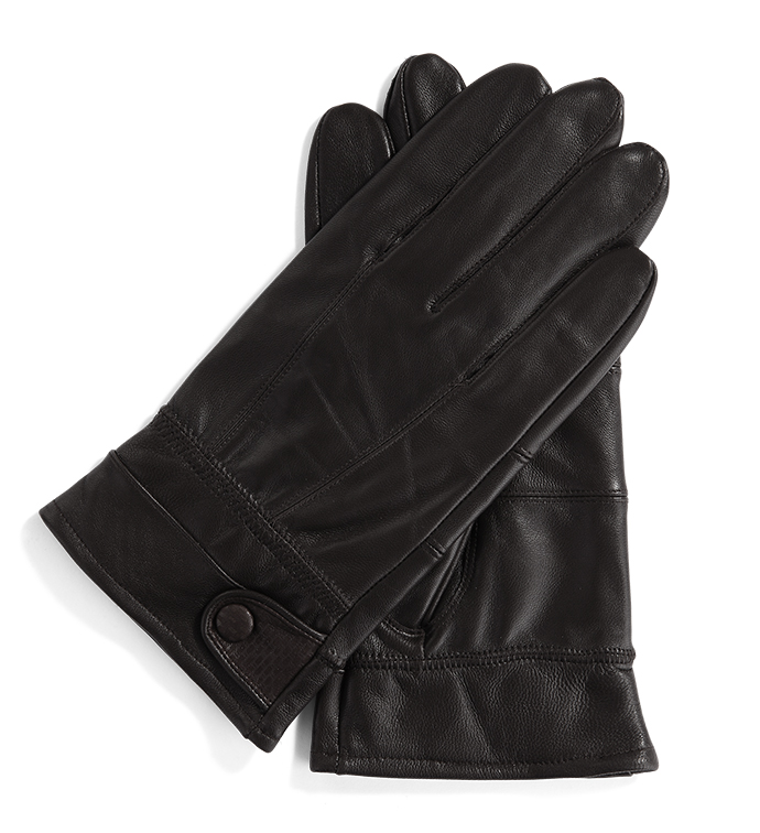 Brown Glove with Black Button Tab