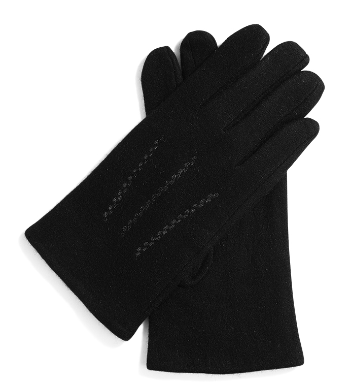 Black Wool Glove with Stitching