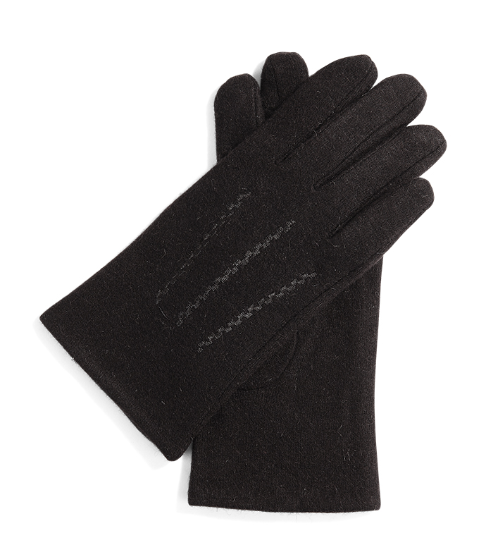 Brown Wool Glove with Stitching