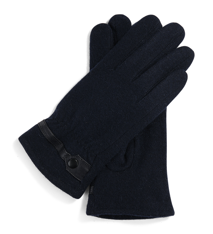 Navy Wool Glove with Tab
