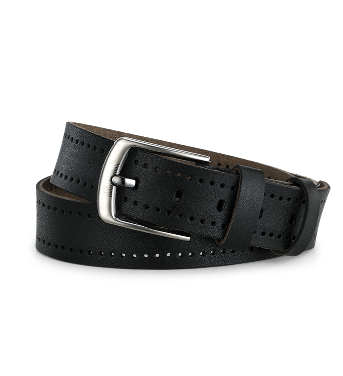 Black Leather Punch Out Belt