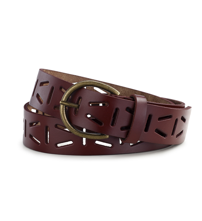Brown Leather Punched Belt
