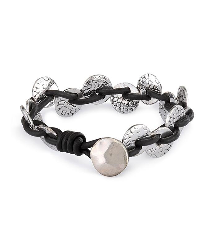 Silver Etched Discs Bracelet