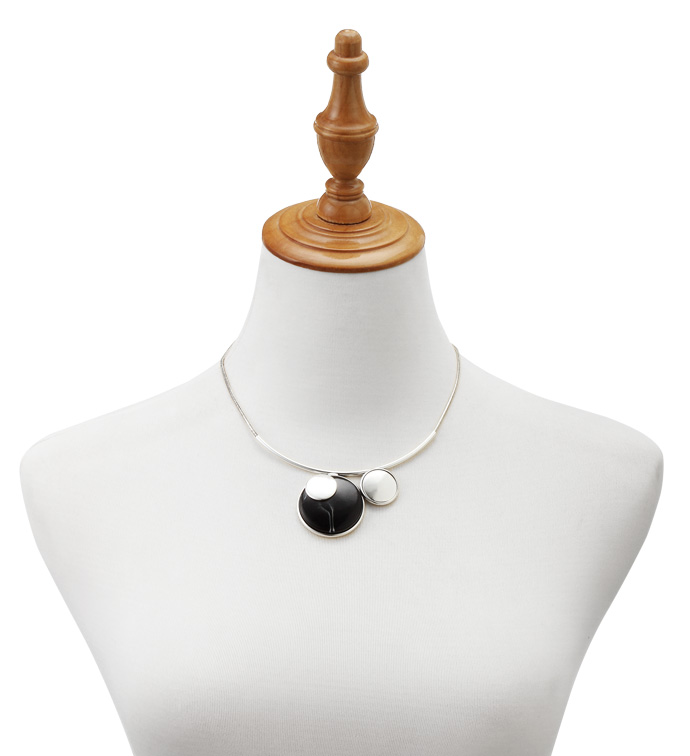 Silver Necklace with Black Stones