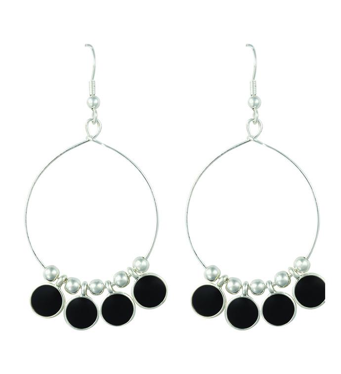 Silver Hoop Earrings with Black Sto