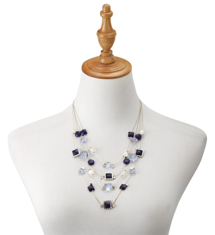Blue Beads Layered Necklace