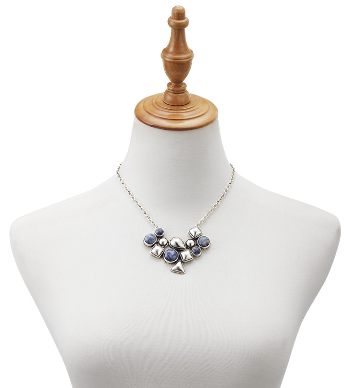 Blue Stone Medallion Necklace