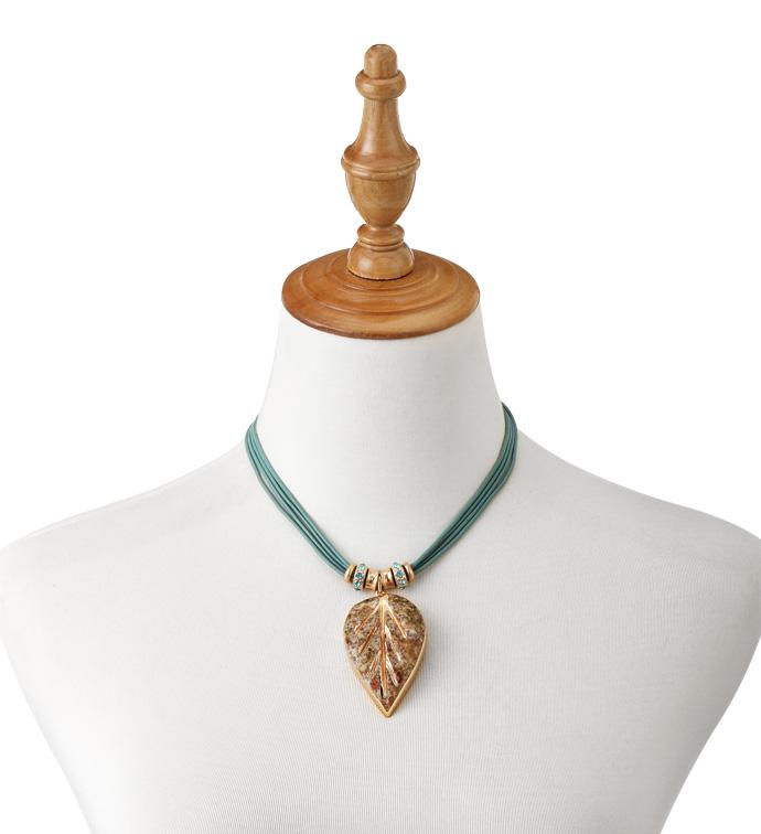 Rose Gold and Teal Leaf Necklace