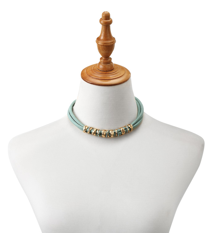 Teal Necklace with Gold Rings