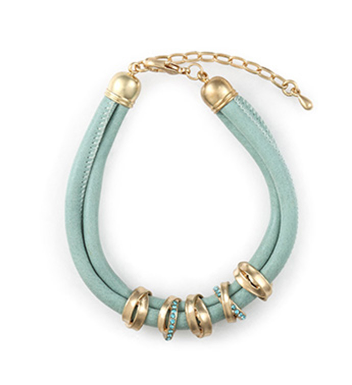 Teal Bracelet with Gold Rings