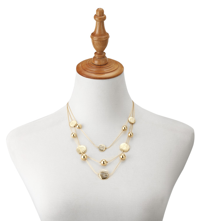 Gold Beads Layered Necklace