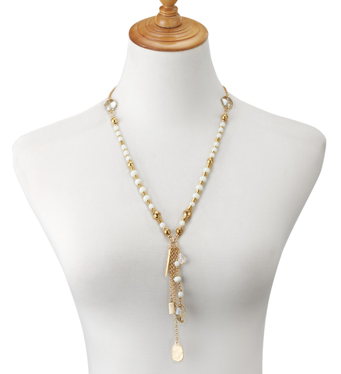 Gold Beads Tassel Necklace