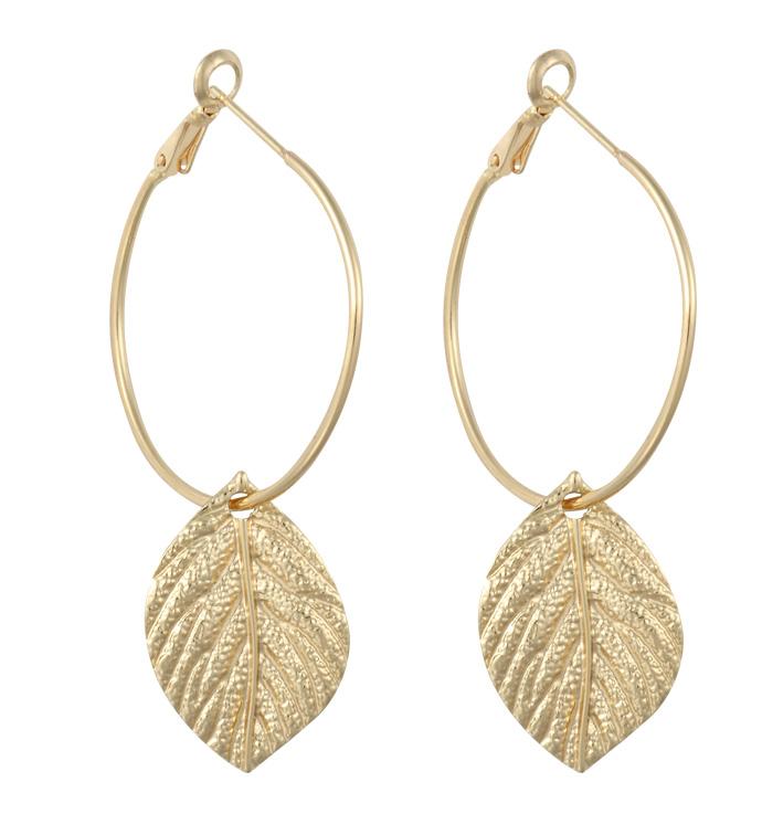 Gold Hoop with Leaf Earrings