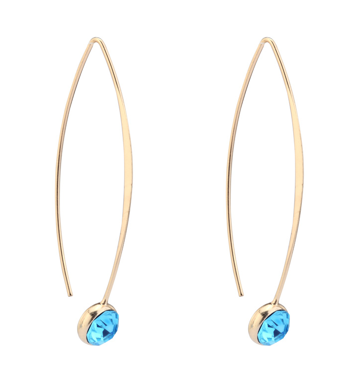 Gold Earring Teal Crystal