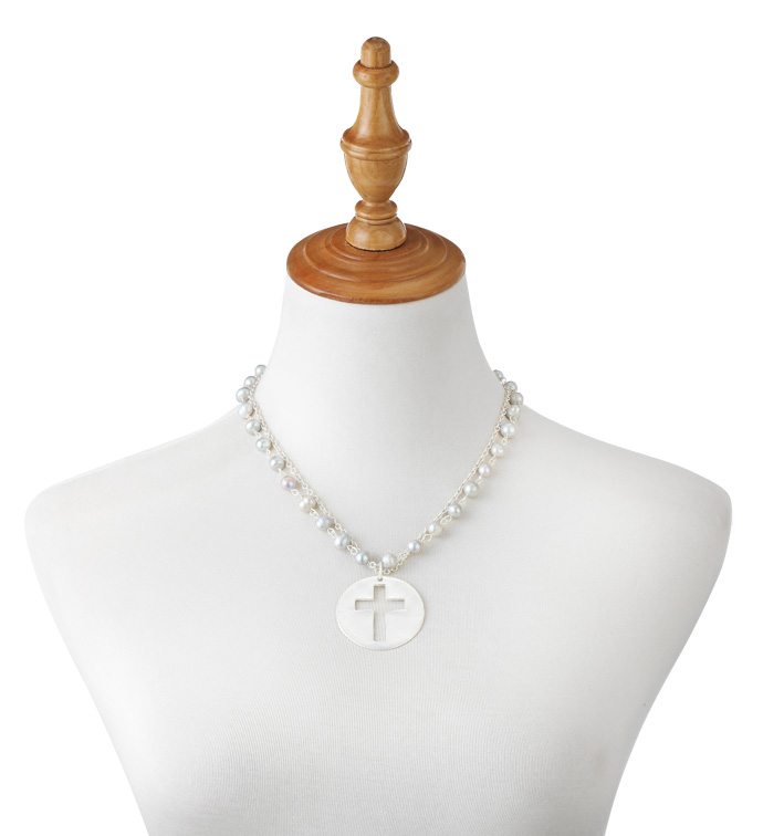 Grey Pearl Necklace with Cross