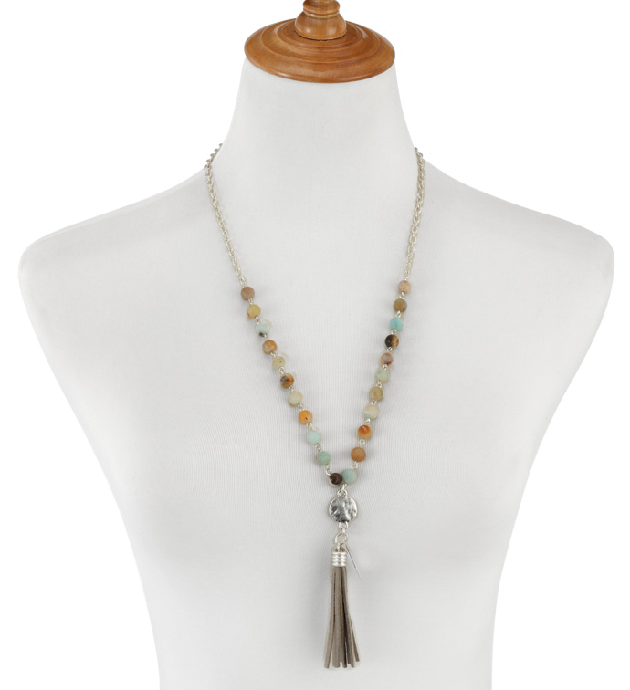 Grey & Taupe Bead Tassel Necklace