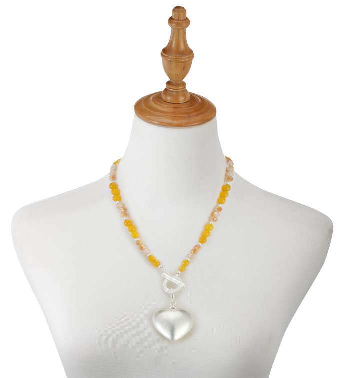 Amber Bead Heart Necklace