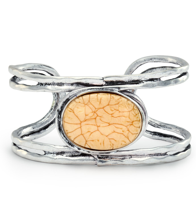 Amber Stone Cuff Bracelet