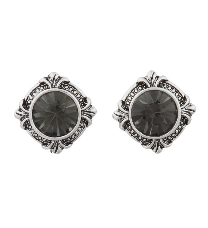Round Crystal Post Earrings