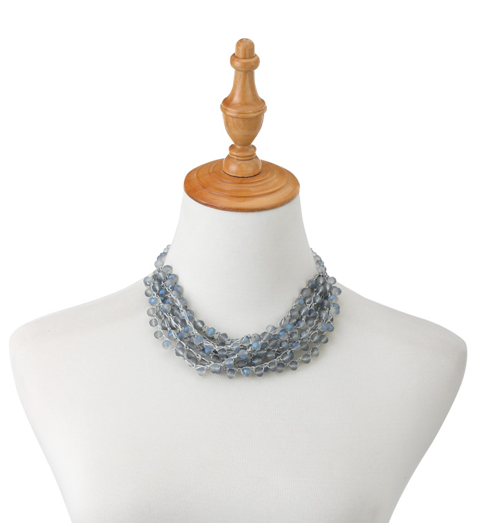 Blue Pearl Crochet Necklace