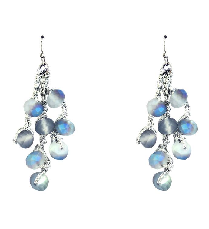 Blue Pearl Crochet Earrings