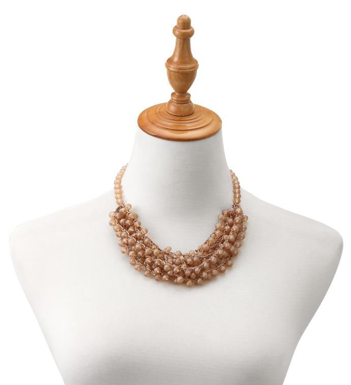 Beige Pearl Crochet Necklace
