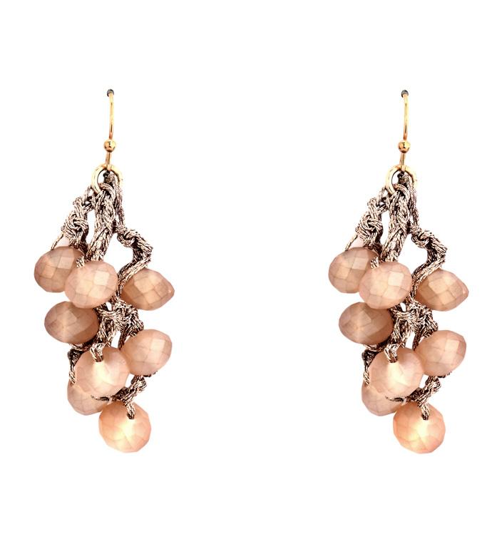 Beige Pearl Crochet Earrings