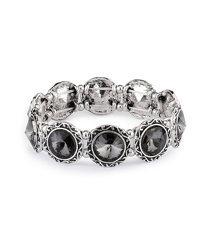 Smoke Crystal Stretch Bracelet