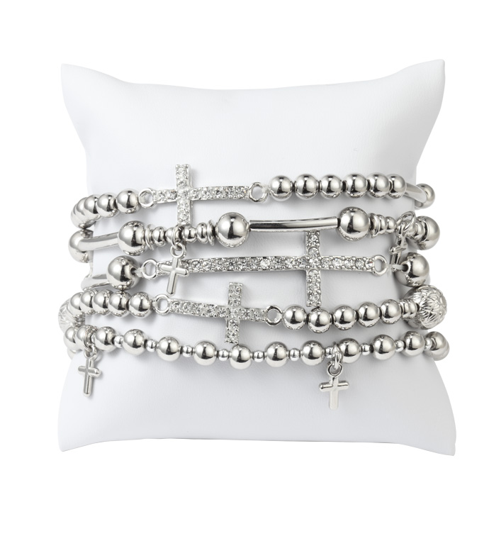Silver Crosses Stretch Bracelet