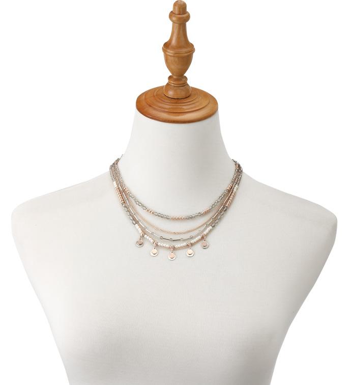 Two Tone Multi Strand Necklace