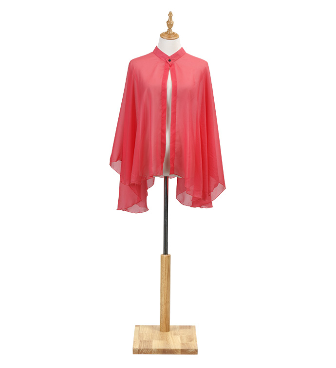 Coral Chiffon Cape with Snap