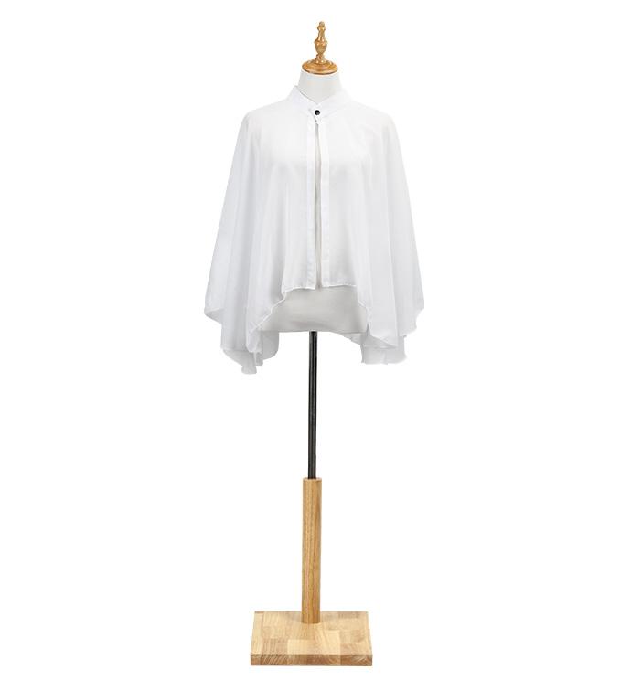White Chiffon Cape with Snap