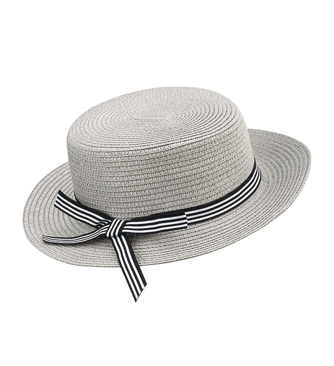 Grey Bowler Hat with Bow