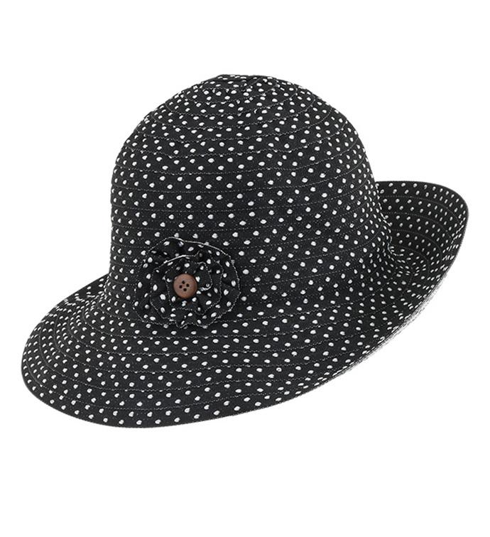 Black Polka Dot Adjustable Hat