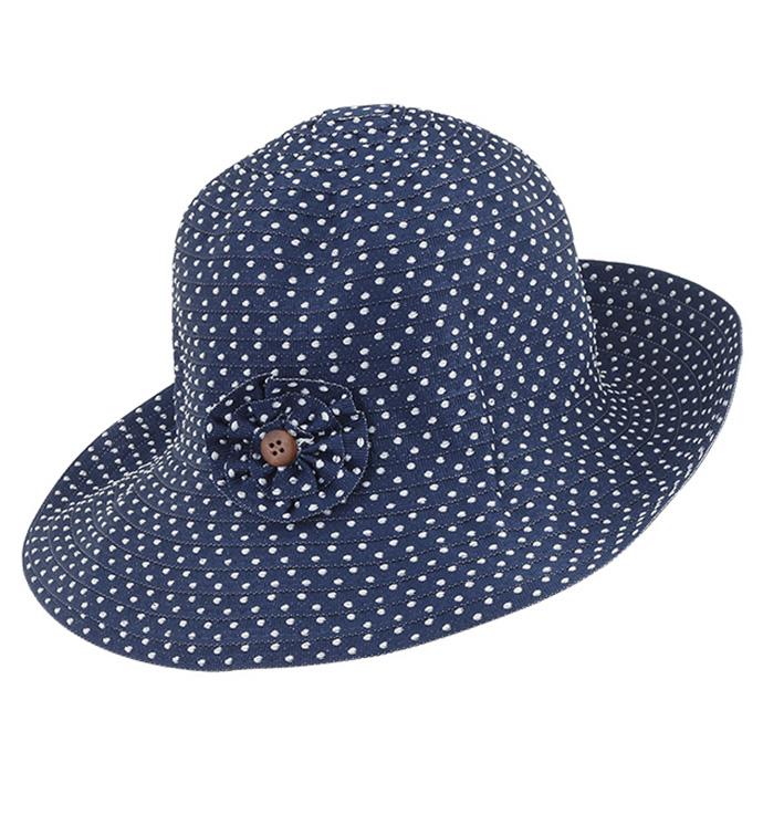 Navy Polka Dot Adjustable Hat